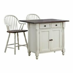 Sunset Trading Andrews 3-piece Expandable Wood Kitchen Island In Antique White