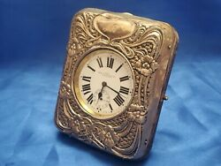 Large Antique Automotive / Desk Clock With Sterling Silver Front Running.