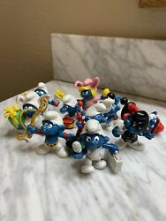 Vintage Smurfs Lot Of 10 1970and039s 1980and039s Collectible Figures