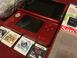 Nintendo 3ds - Flame Red Bundle 64gb Stylus Games Charger