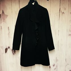 Dkny Black Wool Cashmere Blend Long Coat Size 2 Ruffle Down Front Lined