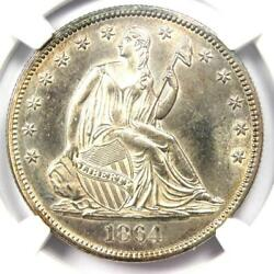 1864 Seated Liberty Half Dollar 50c 1864-p - Ngc Uncirculated Details Ms Unc