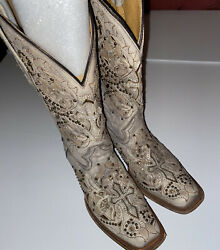 CORRAL Tan Lt Brown Studded Cross Leather Western Cowgirl Boots Sz 10 AB037 $89.00