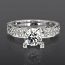 Diamond Solitaire And Accents Ring Vs1 D 4 Prongs Women 14k White Gold 3.2 Carats