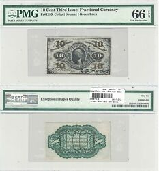 3rd Issue 10 Cents Fractional Currency Fr 1255 Pmg Gem Uncirculated-66 Epq
