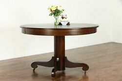 Victorian Antique 48 Round Oak Dining Table, 2 Leaves 37478