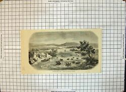 Antique Old Print Gathering Harvest China Men Small Tubs Boats Sea M Marchal