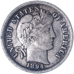 1894 Barber Dime 90 Silver Extra Fine Xf See Pics K713
