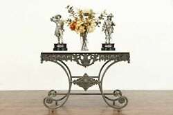 French Vintage Iron And Marble Baker Sofa Hall Table Tv Console 39090