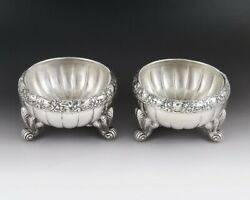 Pair Antique 1880 Victorian Sterling Silver Salt Cellars Dishes