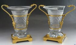 Ornate Pair Antique 19th Century Gilt Bronze And Cut Glass Vases Or Urns