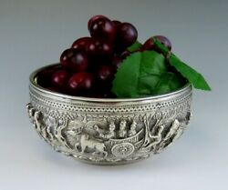 Antique C1900 Hand Chased Silver Raita Dessert Or Rice Bowl From Southeast Asia