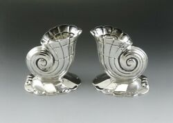Vtg Sterling Silver Frank Whiting Nautilus Seashell Shell Candlestick Holders