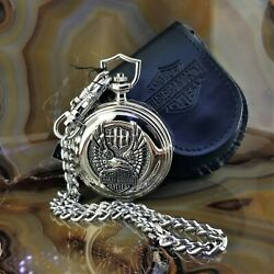 New Franklin Mint Harley Davidson Wings Of Glory Eagle Pocket Watch With Case
