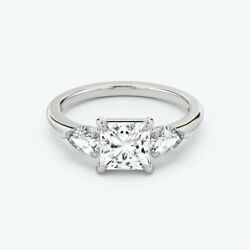 Christmas Gift 14k White Gold 1.30 Ct Real Diamond Engagement Ring Size 6 7 8 9