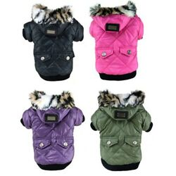 Pet Dog Hooded Jacket Coat Winter Warm Small Dog Snowsuit Puppy Clothes Jumpsuit