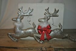 Vintage Lot Of Two Silver Glitter Reindeer One With Red Bow Wear