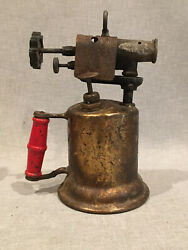 Vintage Antique Turner Brass Works Gas Blow Torch With Wood Handle
