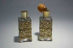Vintage Lot Of 2 Perfume Bottles With Atomizer Bulb And Bronze Metal Holder