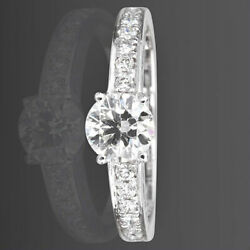 1.26 Ct Authentic Diamond Solitaire Accented Ring Lady 18 Karat White Gold Vs2