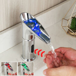 Led Chrome Vessel Touchless Free Hand Waterfall Sensor Faucet Brass Mixer Tap