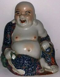 Very Large Old Chinese Porcelain Budai Buddha Statue Very Fine Collectible