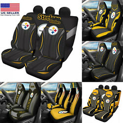 Pittsburgh Steelers 5pcs Car Seat Covers Front Rear Cushion Protectors Full Set