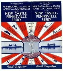 New Castle Pennsville Ferry Brochure 1950 Routes New England South West Atlantic