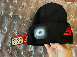 New Snap On Tools Lighted Beanie Skully Hat Black Red Rechargable Led Light