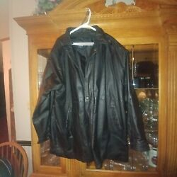 Big Tall Men Bmm 3x Black Leather Car Coat Excellent Used Condition