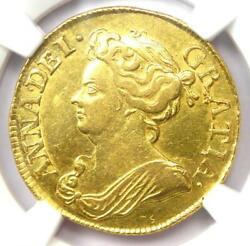 1713 England Great Britain Anne Gold Guinea Coin 1g - Certified Ngc Au Detail