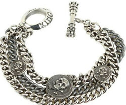 King Baby Jewelry Sterling Silver 3 Chain 3 Vintage Skull Coin Toggle Bracelet