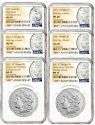 2021 Morgan And Peace Dollar Set Ms70 Ngc First Day Of Issue