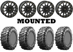Kit 4 Maxxis Carnivore Tires 31x10-15 On System 3 Sb-5 Beadlock Matte Black Can