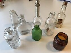 Lot Of 8 Antique / Vintage Medicine / Apothecary / Lab Glass / Perfume Bottles