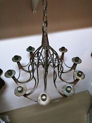Gothic Wrought Iron 10 Arm Candle Hanging Chandelier Candelabra