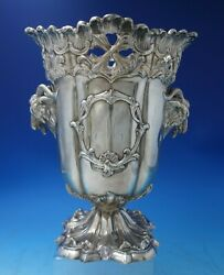 Silverplate Champagne Cooler With Liner Monogram M Crest And Goats 5622