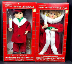 Vintage Telco Animated Motionette Christmas Caroler Girl/boy W Candle 19 Works