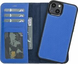 Leather Wallet Case For Iphone 13 Detachable Flip Folio Cover Card Slots Blue