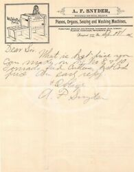 Snyder Pianos And Washing Machines Weissport Pa Antique Autograph Signed Letter