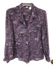 Real Clothes Women#x27;s Size 12 Purple Paisley 100% Silk Blouse Button Front Collar $22.95