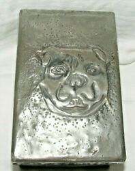 Antique Pewter And Wood Cigarette Card Box Staffordshire Bull Terrier Dog Bulldog