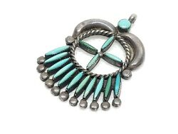 Zuni Signed Rg Chachu Sterling Needlepoint Turquoise Pendant For Necklace B5