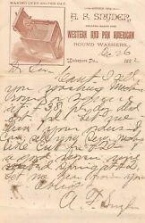 Snyder Western Washing Machines Antique Autograph Signed Advertising Letter 1892