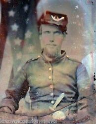 Union Civil War Ambrotype Photo Infantry Soldier In Uniform With American Flag