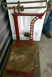 Antique 1890and039s-1900and039s Fairbanks Scale-wrought Iron / Or Cast Butcher Scale