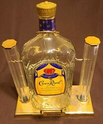 Vintage Crown Royal Glass Bottle W/ Cradle Swing Tilt And Pour Display Pre-owned