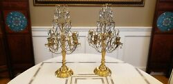 Pair Of Antique Gilt Bronze And Rock Crystal Four Arm Candelabras 20 1/2 Tall