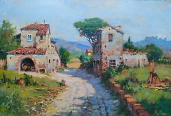 Tuscany Old Country Village Oil Painting C.pallini Original Italian Charm Gifts