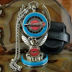 New Franklin Mint Harley Davidson Blue Hydra Glide Pocket Watch With Eagle Stand